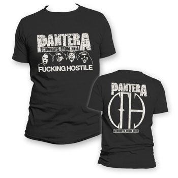 Pantera- Fucking Hostile (Faces) on front, Cowboys From Hell on back on a black shirt