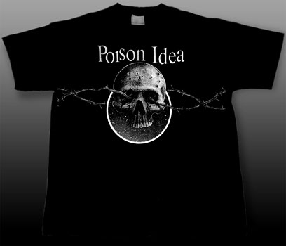 Poison Idea- Skull & Barbed Wire on a black YOUTH sized shirt