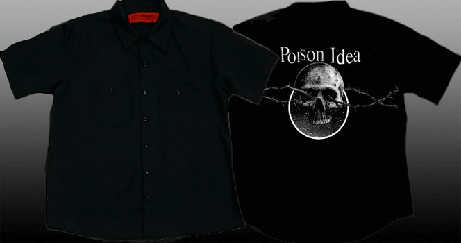 Poison Idea- Skull on back of a black short sleeve work shirt (Sale price!)