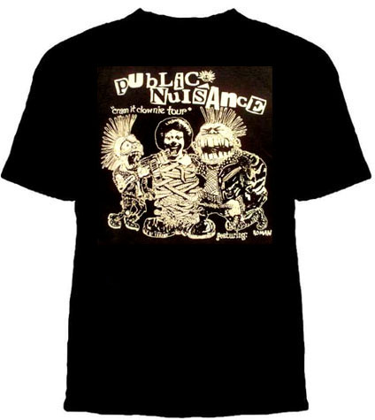 Public Nuisance- Cram It Clownie on a black YOUTH sized shirt