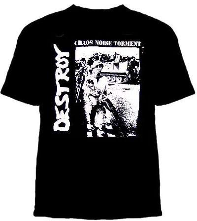 Destroy- Chaos Noise Torment on a black YOUTH sized shirt