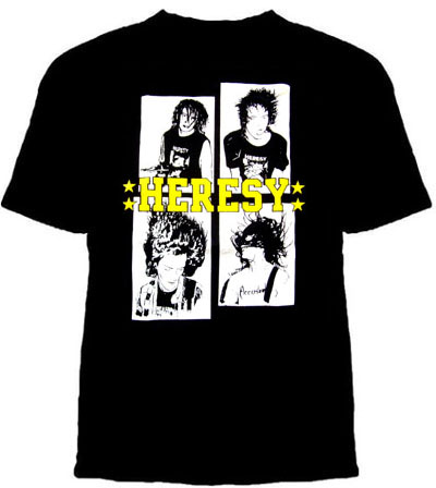 Heresy- Band Pics on a black shirt - SALE S only