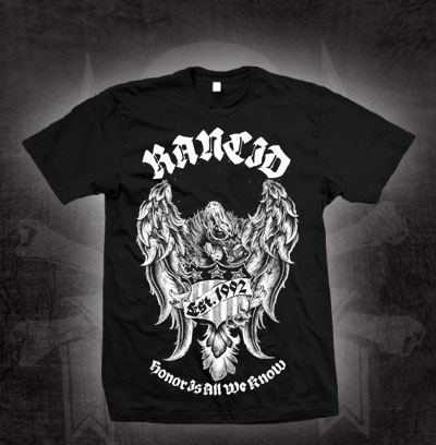 Rancid- Honor Is All We Know (Eagle) on a black shirt (Sale price!)