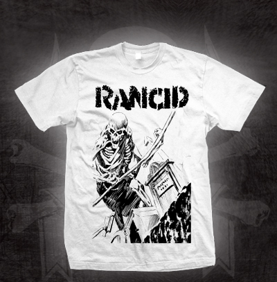 Rancid- Cemetary Skeleton on a white shirt (Sale price!)