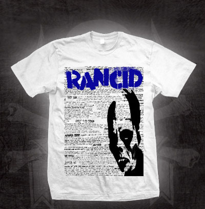 Rancid- Phantom & Lyrics on a white shirt (Sale price!)