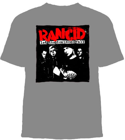 Rancid- Let The Dominoes Fall on a grey YOUTH SIZED shirt