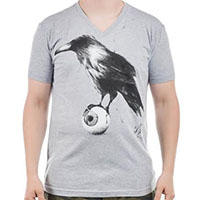 Raven on a grey guys slim fit v-neck shirt by Low Brow Art Company - SALE sz L & XL only