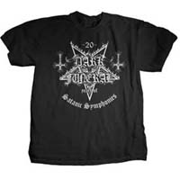 Dark Funeral- 20 Years Of Satanic Symphonies on front, Logo on back on a black shirt