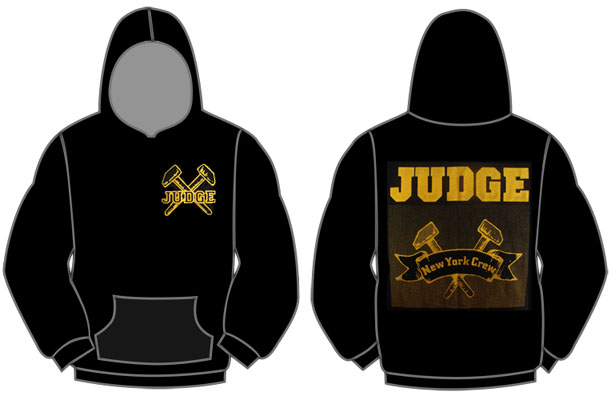Judge- Crossed Hammers on front, New York Crew on back of a hooded sweatshirt (Sale price!)