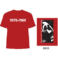 Youth Of Today- Logo on front, We're Not In This Alone on back on a red shirt (Sale price!)