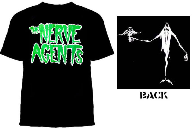 Nerve Agents- Logo on front, Guy With Owl on back on a black shirt (Sale price!)