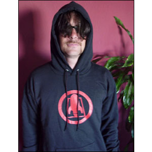 Rocket From The Crypt- Rocket Symbol on a black hooded sweatshirt (Sale price!)