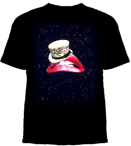 Rocky Horror Picture Show- Lips & Tophat on a black ringspun cotton shirt - SALE sz S only