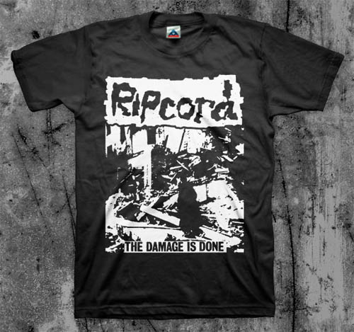 Ripcord- The Damage Is Done on a black YOUTH SIZE shirt (Sale price!)