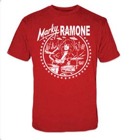 Marky Ramone- Drumming on a red ringspun cotton shirt