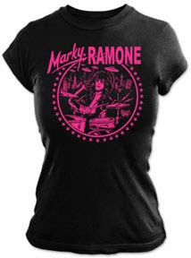 Marky Ramone- Drumming on a black fitted girls shirt
