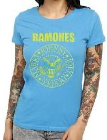 Ramones- Presidential Seal on a turquoise girls fitted shirt (Sale price!)