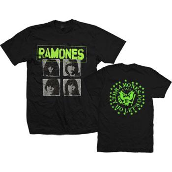 Ramones- Band Pics & Green Logo on front, Hey Ho Seal on back on a black ringspun cotton shirt