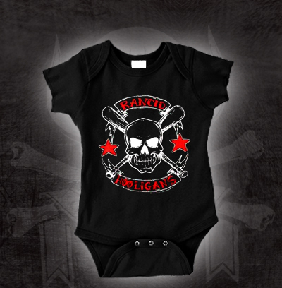 Rancid- Hooligans on a black onesie (S=0-6m, M=6-12m, L=12-18m, XL=18-24m)