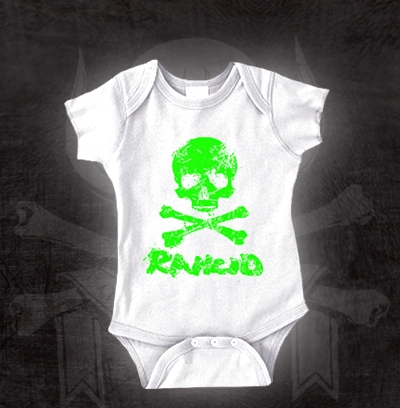 Rancid- D-Skull (Green) on a white onesie (S=0-6m, M=6-12m, L=12-18m, XL=18-24m)