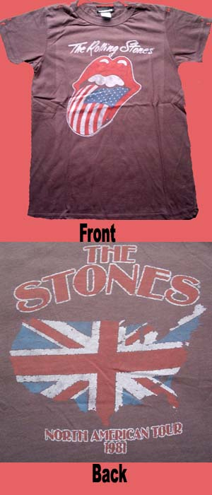 Rolling Stones- American Flag Tongue on Front, British Flag Map on the back of a black girls shirt by Junk Food (Sale price!)