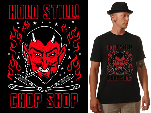 Hold Still Chop Shop on a black shirt by Steady Clothing - SALE sz S only