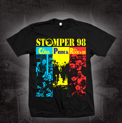 Stomper 98- Class Pride Rock'n Oi (4 Skins Style) on a black shirt (Sale price!)