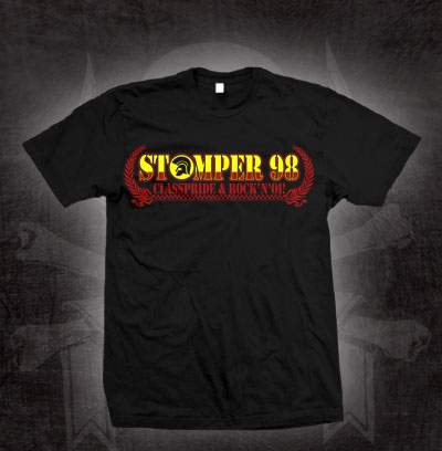 Stomper 98- Class Pride & Rock N Oi! (Logo With Laurel Wreath) on a black shirt (Sale price!)