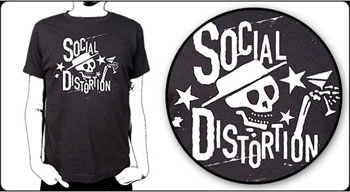 Social Distortion- Skull & Martini on a black shirt