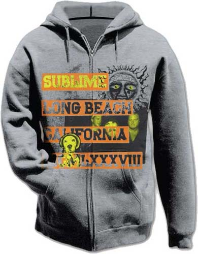 Sublime- Long Beach on a grey zip up hooded sweatshirt