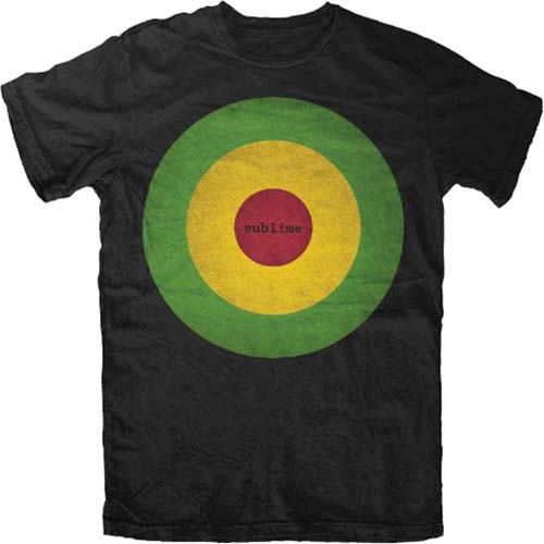 Sublime- Rasta Bullseye on a black shirt