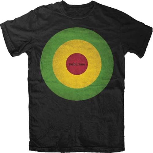 Sublime- Rasta Bullseye on a black shirt