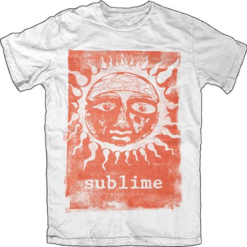 Sublime- Orange Sun on a white ringspun cotton shirt