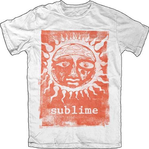 Sublime- Orange Sun on a white ringspun cotton shirt