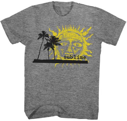 Sublime- Sun & Palm Trees on a heather grey ringspun cotton shirt