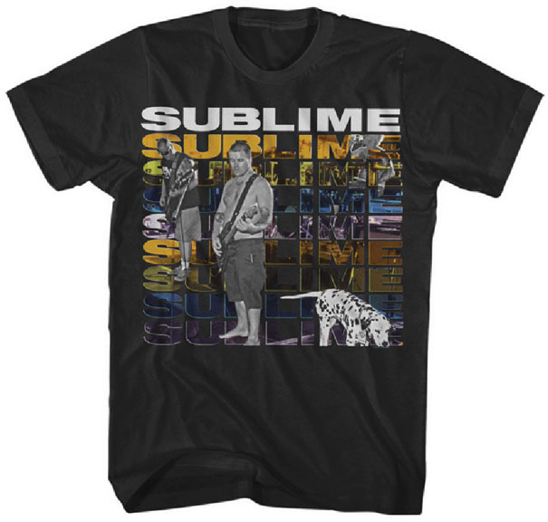 Sublime- Multi Logo With Band & Dog on a black ringspun cotton shirt