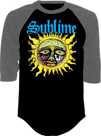 Sublime- Sun on a charcoal/black raglan 3/4 sleeve shirt