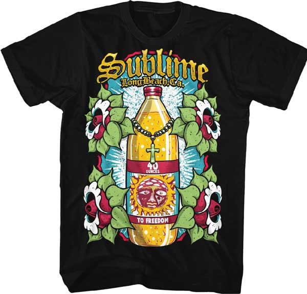 Sublime- Long Beach (40oz Bottle) on a black ringspun cotton shirt