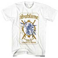 Sublime- Rolling Papers on a white ringspun cotton shirt