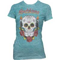 Sublime- Skull Burnout Print on a tahiti blue girls shirt