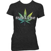 Sublime- Pot Leaf on a heather black girls shirt