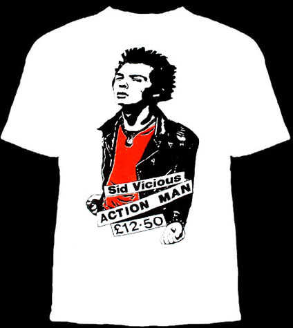 Sid Vicious- Action Man on a white YOUTH SIZED shirt (Sale price!)