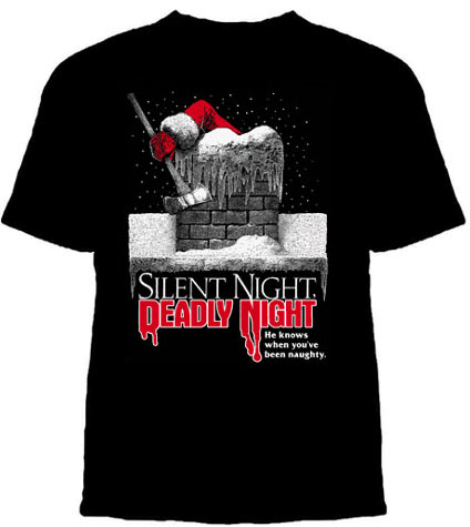 Silent Night Deadly Night- He Knows When You've Been Naughty on a black YOUTH sized shirt