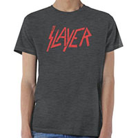 Slayer- Distressed Logo on a charcoal heather tri-blend ringspun cotton shirt