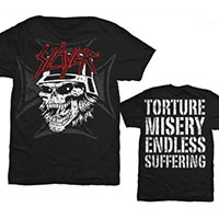 Slayer- Skull & Iron Cross on front, Torture Misery Endless Suffering on back on a black shirt