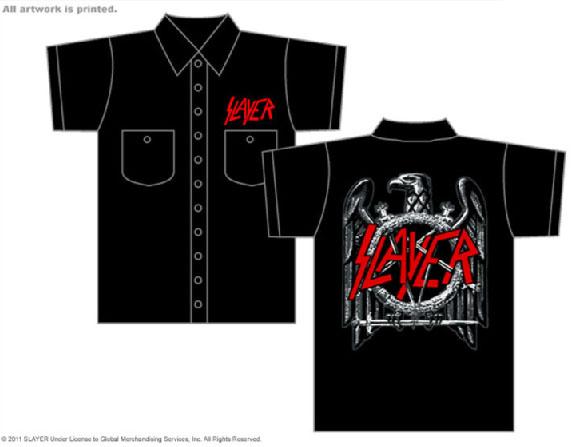 Slayer- Logo on front, Eagle on back on back on a black short sleeve work shirt (Sale price!)