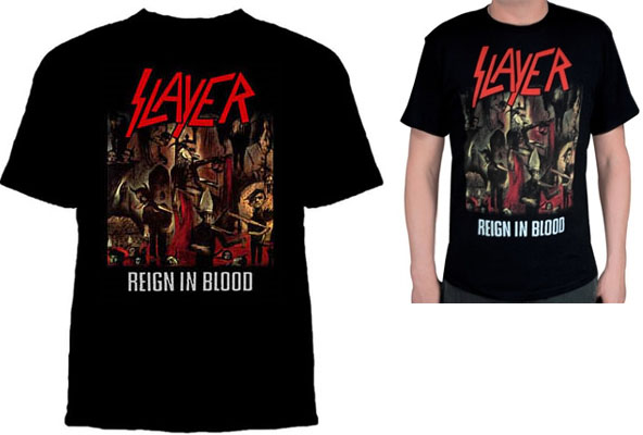 Slayer- Reign In Blood on a black shirt