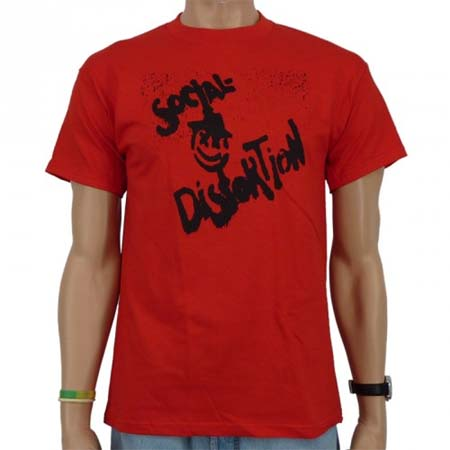 Social Distortion- Spraypaint Face on a red girls fitted shirt (Sale price!)