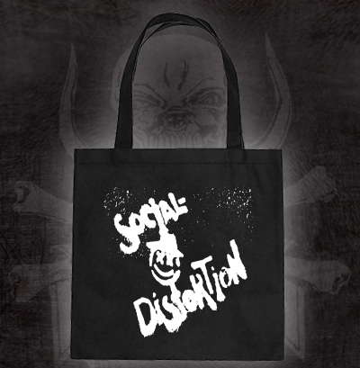 Social Distortion- Spray Paint Face on a black tote bag (Sale price!)