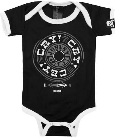 Johnny Cash Cry Cry Cry one piece snap bottom baby shirt (S=0-3 mo, M=3-6 mo, L=6-12 mo, XL=12-18 mo)